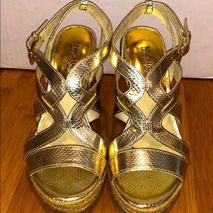 Michael Kors Gold Wedge Sandal Size 6